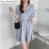 Dress Summer 2020 Picture color S,M,L,XL Middle-skirt singleton  Short sleeve commute V-neck High waist Broken flowers other A-line skirt routine Others 18-24 years old Type A Other / other Korean version 31% (inclusive) - 50% (inclusive) Chiffon polyester fiber