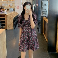 Dress Summer 2021 Picture color S,M,L,XL Short skirt singleton  Short sleeve commute V-neck High waist Broken flowers A-line skirt routine Type A lady 81% (inclusive) - 90% (inclusive)