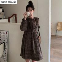 Dress Autumn 2020 Coffee lattices , Dark blue S,M,L,XL Short skirt singleton  Long sleeves commute Crew neck lattice Socket A-line skirt routine Others 18-24 years old Type A Korean version