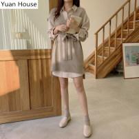 Fashion suit Autumn 2020 S,M,L,XL Knitted vest, shirt skirt, Knitted Vest + shirt skirt 18-25 years old 81% (inclusive) - 90% (inclusive)