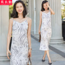 Dress Summer 2021 Floral nude apricot S M L XL 2XL 3XL 4XL Mid length dress singleton  Sleeveless commute V-neck High waist Broken flowers Socket other other camisole 25-29 years old Huan Yi Xian Ol style SY-A835TM-1 More than 95% other polyester fiber Polyester 100% Pure e-commerce (online only)