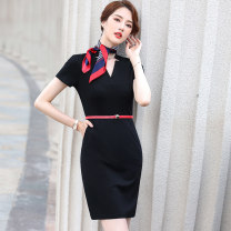 Dress Summer 2021 Black dress (silk scarf) S M L XL 2XL 3XL 4XL 5XL Middle-skirt singleton  Short sleeve commute V-neck High waist Solid color Socket other routine Others 25-29 years old Huan Yi Xian Ol style AMZ-552TM 31% (inclusive) - 50% (inclusive) other nylon Pure e-commerce (online only)