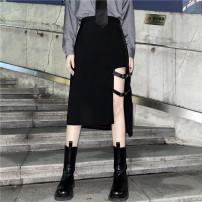 skirt Summer 2021 S,M,L Black, Dragon Mid length dress High waist Irregular 18-24 years old 91% (inclusive) - 95% (inclusive) polyester fiber