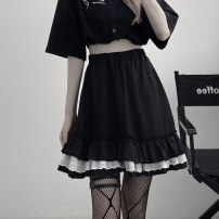 skirt Summer 2021 S,M,L,XL black Short skirt commute High waist A-line skirt Solid color Type A 18-24 years old 81% (inclusive) - 90% (inclusive) other other lady 401g / m ^ 2 (inclusive) - 500g / m ^ 2 (inclusive)