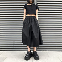 skirt Summer 2021 Average size White, black Mid length dress Versatile A-line skirt Solid color Type A 25-29 years old 71% (inclusive) - 80% (inclusive) other cotton