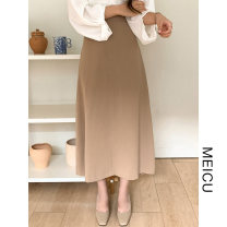 skirt Winter 2020 S,M,L,XL Khaki, coffee Mid length dress commute High waist A-line skirt Solid color Type A 18-24 years old Korean version
