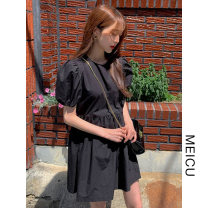 Dress Summer 2021 black Average size Short skirt singleton  Short sleeve commute Crew neck Loose waist Solid color Socket other puff sleeve 18-24 years old Type H Korean version