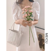 Dress Summer 2021 White, blue, black S,M,L Short skirt singleton  Short sleeve commute square neck High waist Solid color Socket A-line skirt puff sleeve Others 18-24 years old Type A Korean version