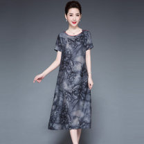 Dress Summer 2021 Grey, red L,XL,2XL,3XL,4XL,5XL Mid length dress singleton  Short sleeve commute Crew neck Loose waist Decor Socket A-line skirt routine Others 40-49 years old Type A Other / other Simplicity Print, bow XWZ999 More than 95% silk
