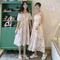 Dress Summer 2020 Average size S M Mid length dress singleton  Short sleeve commute One word collar High waist other Socket Cake skirt other Others 18-24 years old Wenrou Korean version More than 95% other Other 100% Pure e-commerce (online only)