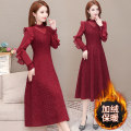 Dress Spring 2021 Red and black M L XL 2XL 3XL 4XL 5XL Mid length dress singleton  Long sleeves commute Half high collar High waist lattice Socket A-line skirt other Others 35-39 years old Type A My flowers Korean version Splicing WHW2021010711 More than 95% polyester fiber Other polyester 95% 5%