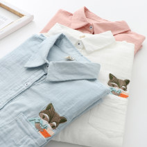 shirt Pink white blue S M L XL Spring 2020 cotton 96% and above Long sleeves Sweet Regular Polo collar Single row multi button routine Solid color 18-24 years old Straight cylinder Le Jin Cotton 100% Exclusive payment of tmall Mori