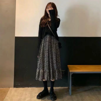 Dress Autumn of 2019 Black sweater, dress, black sweater + dress S,M,L,XL longuette Two piece set Long sleeves commute V-neck High waist Broken flowers Socket Ruffle Skirt pagoda sleeve Others 18-24 years old Type H Korean version