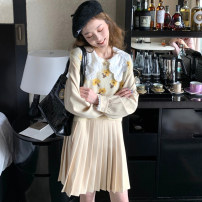 Dress Spring 2021 Dress, flower T-shirt, flower T-shirt + dress S,M,L,XL Short skirt Two piece set Long sleeves commute Doll Collar High waist Solid color Socket A-line skirt routine Others 18-24 years old Type A Korean version Splicing cotton