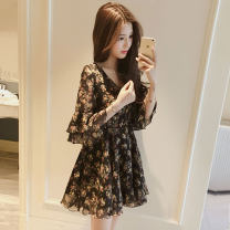 Dress Summer of 2018 Black, red S,M,L,XL,2XL Short skirt singleton  elbow sleeve commute V-neck High waist Broken flowers zipper Princess Dress Lotus leaf sleeve Others 18-24 years old Type A Korean version Printing, zipper, embroidery, hollow out, tassel, rivet, ruffle, bow barret249 Chiffon other