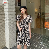 Women's large Summer 2021 Picture color M. Large L, large XL, 2XL, 3XL Dress singleton  commute moderate Short sleeve Retro puff sleeve 18-24 years old Middle-skirt