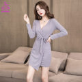 Dress Winter of 2019 Grey black S M L XL XXL Short skirt singleton  Long sleeves commute V-neck High waist Solid color Socket One pace skirt routine Others 25-29 years old Type H Xue Shili Korean version mj828 51% (inclusive) - 70% (inclusive) brocade polyester fiber Pure e-commerce (online only)