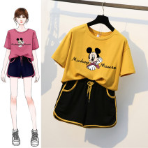Women's large Summer 2020 Other oversize styles Two piece set commute easy moderate Socket Short sleeve Cartoon letters Korean version Crew neck routine Three dimensional cutting routine Elegant and beautiful pocket Cotton 65% polyester 35% Pure e-commerce (online only) shorts