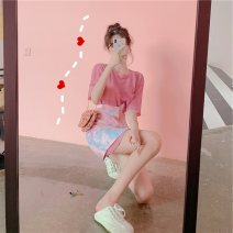 Dress Summer 2021 T-shirt + skirt, pink patchwork dress S [quality version], m [quality version], l [quality version], XL [quality version] Short skirt Two piece set Short sleeve Sweet Crew neck High waist Solid color Socket A-line skirt routine Others 18-24 years old Type A pocket polyester fiber