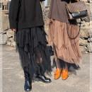 skirt Winter of 2019 M,L,XL,XXL,XXXL Brown, black Mid length dress commute Natural waist A-line skirt Solid color 18-24 years old XS911L47 More than 95% Li xiaosa polyester fiber Korean version