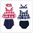 suit Other / other Red, Navy Size 70, 80, 90, 100, 110, 70-110 / 1 hand 5 pieces female summer Europe and America Sleeveless + pants 3 pieces Thin money No model Socket nothing lattice cotton children Expression of love 3 months, 6 months, 12 months, 18 months, 2 years old
