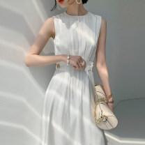 Dress Summer 2021 white XS,S,M,L Mid length dress singleton  Sleeveless commute Crew neck High waist Solid color Socket A-line skirt Type A Simplicity Button, zipper