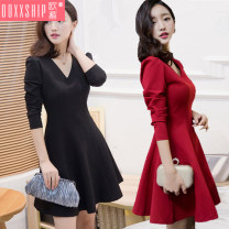 Dress Winter of 2019 Red (regular version) black (regular version) red (plush version) black (plush version) S M L XL 2XL 3XL 4XL Short skirt singleton  Long sleeves commute V-neck High waist Solid color Socket A-line skirt puff sleeve Others 18-24 years old Type A Ooxxship / eurostorage zipper other