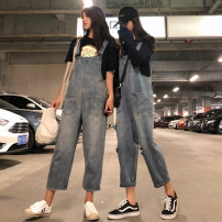 Jeans Autumn of 2018 Ninth pants rompers 18-24 years old Old, washed, Multi Pocket Other / other 51% (inclusive) - 70% (inclusive)
