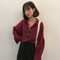 shirt One size fits all, XXXs pre-sale Autumn of 2018 polyester fiber 96% and above Long sleeves commute Medium length Polo collar other shirt sleeve Solid color 18-24 years old Straight cylinder Other / other Korean version Button