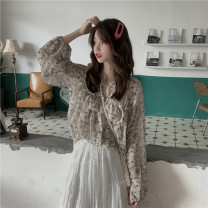 shirt Picture color One size fits all, XXXs pre-sale Summer of 2019 other 30% and below Long sleeves commute Regular stand collar Socket puff sleeve Broken flowers 18-24 years old Straight cylinder Other / other Korean version