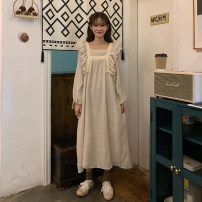 Dress Spring 2020 Apricot One size fits all, XXXs pre-sale Mid length dress singleton  Long sleeves commute 18-24 years old Korean version