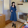 Dress Autumn 2020 Apricot, blue, black One size fits all, XXXs pre-sale longuette singleton  Long sleeves commute square neck High waist Solid color Socket A-line skirt puff sleeve 18-24 years old Type A fold 30% and below other