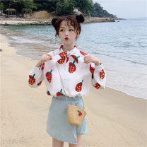 shirt White, blue One size fits all, XXXs pre-sale Spring of 2019 other 71% (inclusive) - 80% (inclusive) Long sleeves commute Regular other Single row multi button routine 18-24 years old Other / other Korean version Bow, print