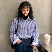shirt Blue stripe, black stripe One size fits all, XXXs pre-sale Spring of 2019 polyester fiber 96% and above Long sleeves commute Medium length Polo collar Single row multi button shirt sleeve stripe 18-24 years old Other / other Korean version 606#