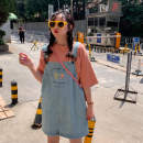 Dress Summer of 2019 Blue, charcoal black One size fits all, XXXs pre-sale Middle-skirt Short sleeve commute square neck straps 18-24 years old Other / other