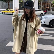 short coat Spring of 2019 M. L, XXS pre-sale Black, apricot Long sleeves Medium length routine singleton  easy Versatile other Single breasted Solid color 18-24 years old Other / other 96% and above 8601# cotton cotton