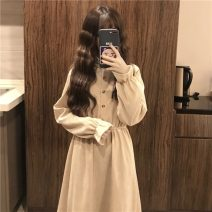 Dress Autumn 2020 Apricot , wathet , Pink One size fits all, XXXs pre-sale Mid length dress singleton  Long sleeves commute Elastic waist Socket routine 18-24 years old Type A Other / other Korean version Button 31% (inclusive) - 50% (inclusive) corduroy