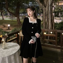 Dress Spring 2021 black S. M, XXS pre-sale Mid length dress singleton  Long sleeves commute square neck High waist Solid color Socket A-line skirt routine Others 25-29 years old Type A Korean version Button 51% (inclusive) - 70% (inclusive) other polyester fiber