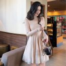 Dress Winter of 2019 Cream apricot, fairy black One size fits all, XXXs pre-sale Middle-skirt singleton  Long sleeves commute Crew neck High waist A-line skirt routine Others 18-24 years old Type A Korean version