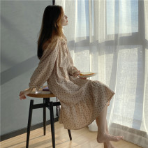 Pajamas / housewear set female Other / other Average size Suit, nightdress cotton Long sleeves Sweet pajamas autumn routine youth 2 pieces rubber string 61% (inclusive) - 80% (inclusive)