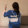 T-shirt White, blue, pink One size fits all, XXXs pre-sale Summer 2020 Short sleeve Crew neck easy Medium length routine commute other 30% and below 18-24 years old Korean version youth Letters, stitching other Print, lace
