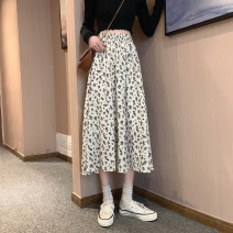 skirt Spring 2021 One size fits all, XXXs pre-sale Off white, black Mid length dress Versatile High waist A-line skirt Decor Type A 18-24 years old