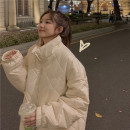 Cotton padded clothes Black, beige One size fits all, XXXs pre-sale Winter 2020 Other / other Medium length Long sleeves thickening Single breasted commute stand collar routine Straight cylinder Solid color Korean version 91% (inclusive) - 95% (inclusive) other 18-24 years old