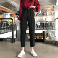 Casual pants Gray, black S. M, l, XXS pre-sale Autumn of 2019 Ninth pants loose  High waist commute routine 18-24 years old 30% and below Other / other Korean version