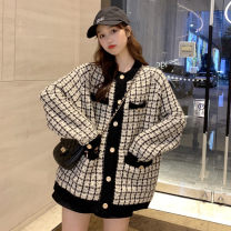 short coat Autumn of 2019 One size fits all, XXXs pre-sale White, black Long sleeves routine routine singleton  Straight cylinder commute routine Crew neck Single breasted lattice 18-24 years old Other / other 30% and below
