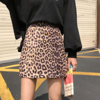 skirt Winter of 2018 S. M, l, XXS pre-sale Brown Short skirt commute High waist A-line skirt Leopard Print Type A 18-24 years old 91% (inclusive) - 95% (inclusive) Other / other polyester fiber Korean version