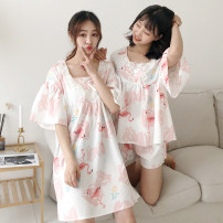 Pajamas / housewear set female Other / other XXXs pre sale average Picture color dress picture color suit Polyester (polyester) Short sleeve Cartoon pajamas spring routine V-neck Cartoon animation shorts Socket youth rubber string More than 95% Middle-skirt