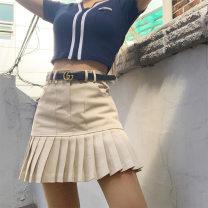 skirt Autumn 2020 S,M,L khaki Short skirt Sweet Pleated skirt Solid color NWQ296 polyester fiber