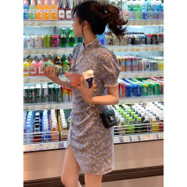 Women's large Summer 2021 Printed Dress S M L XL Dress singleton  commute Socket Decor Korean version polyester fiber Three dimensional cutting routine DM4380 Mummy 18-24 years old Other 100% Pure e-commerce (online only)