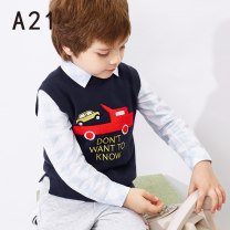 Sweater / sweater 110cm 120cm 130cm 140cm 150cm 160cm Pure cotton (100% cotton content) male Big red, dark blue A21 leisure time There are models in the real shooting Socket routine Crew neck nothing Ordinary wool Cartoon animation Cotton 100% R491343005 Class C Sleeveless Spring of 2019